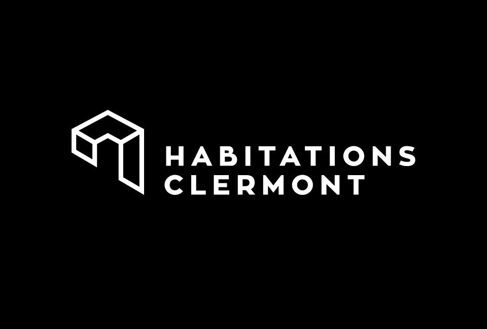 Logo habitation clermont sur fond noir
