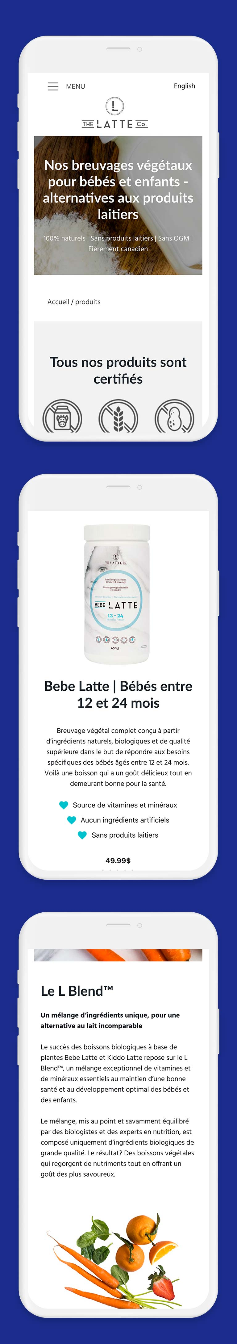 Montage responsive mobile The Latte Co.